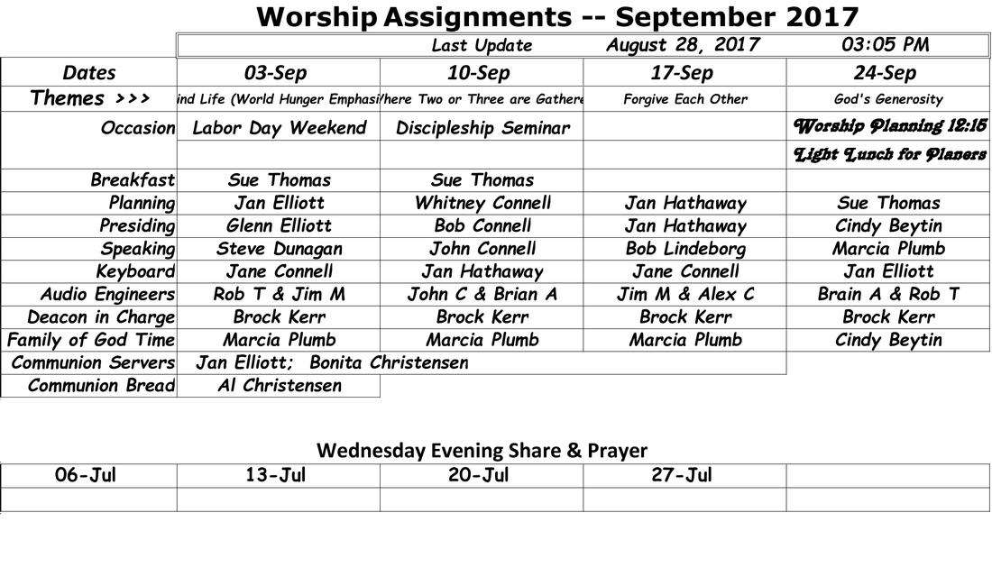 Worship Assignments SAN JOSE COMMUNITY OF CHRIST – Seminar Planning Template